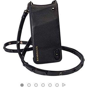 Bandolier Pebble Leather Crossbody Black/Pewter